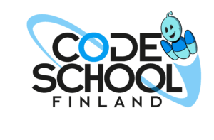 Code School Finland logo with Bobo the Robot flying thru it.